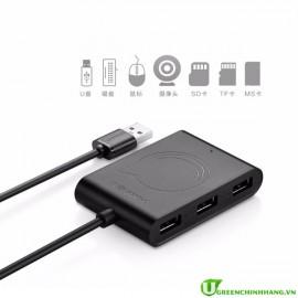 Hub USB 2.0 3 cổng USB hỗ trợ đầu đọc thẻ SD/M2/SD/TF Ugreen 20238