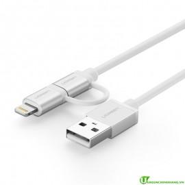Cáp Sạc 2 trong 1 Micro USB và Lightning Ugreen 20749
