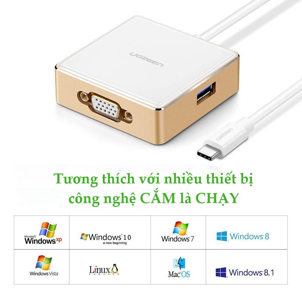 cap-chuyen-usb-type-c-to-vga-tich-hop-hub-usb-3-0-cao-cap-ugreen-30442