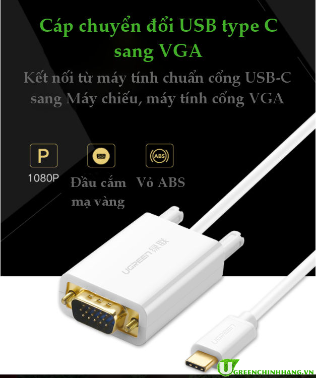 cap-chuyen-doi-usb-type-c-sang-vga-ugreen-30842-white